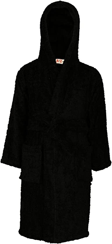 boys girls kids terry 100/% cotton towelling hooded dressing gowns robes bathrobe