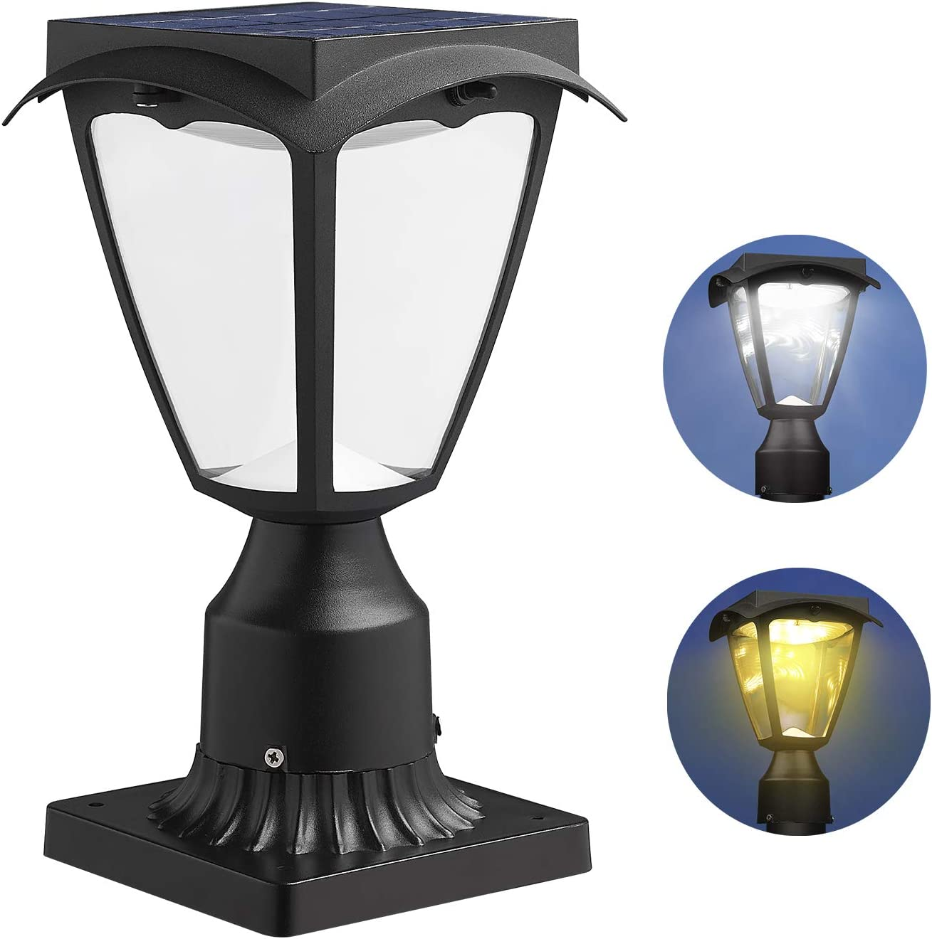 Solar Post Light Fixtures, Two Lighting Modes Include Warm/White Light, and Pier Mount Base (Black)