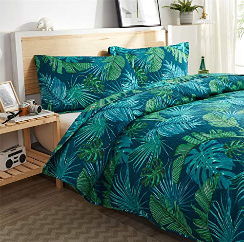 3Pcs Tropical Tree Leaves Quilt Set Full or Queen with Shams, 100% Polyester Quilted Bedspread Coverlet Bedding Set, Green Palm Leaves, Lightweight for Spring and Summer (Blue Green,Full/Queen)