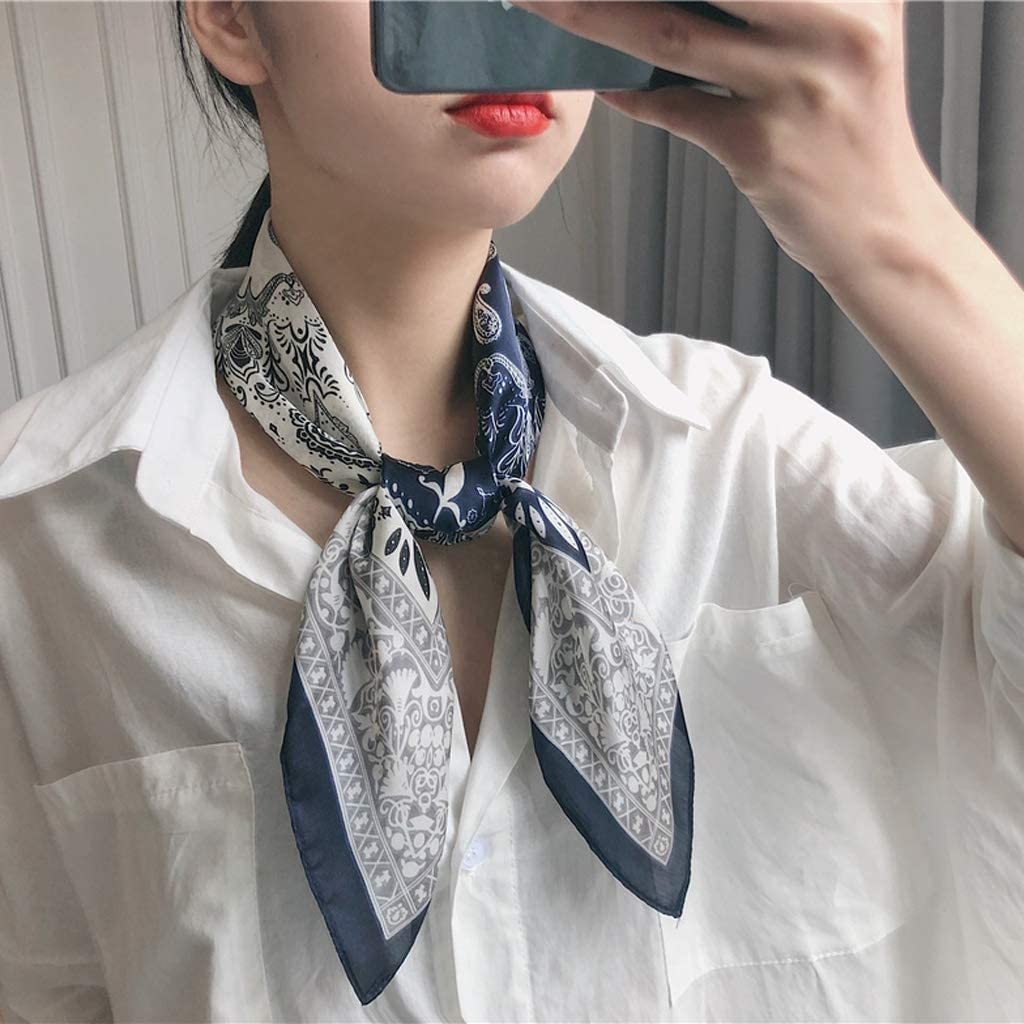 Womens Neckerchief Literature And Art Small Shawl Hip Hop Headband Retro Silk Scarf Fashion Small Square Scarf