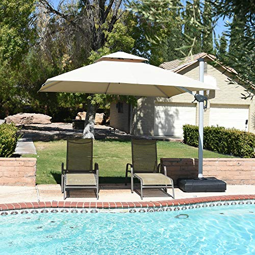 PURPLE LEAF 10 Feet Double Top Deluxe Square Patio Umbrella Offset Hanging Umbrella Cantilever Umbrella Outdoor Market Umbrella Garden Umbrella, Beige