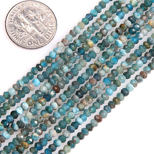AAA Grade Natural Rondelle Faceted Semi Precious Gemstone Spacer Beads for Jewelry Making 15'' (2x3mm/apatite)