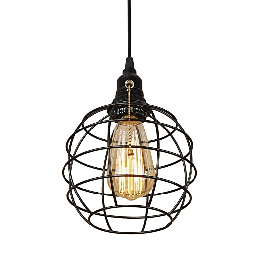 Efinehome Retro Industrial Globe Plug In Swag Lamp Light Fixture