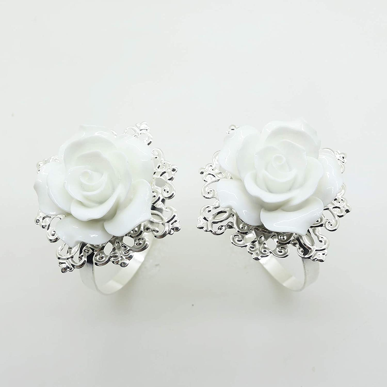 AngHui ShiPin 10pcs White Rose Napkin Ring Serviette Holder for Wedding Party Dinner Table Decor for Christmas Table BK-0295
