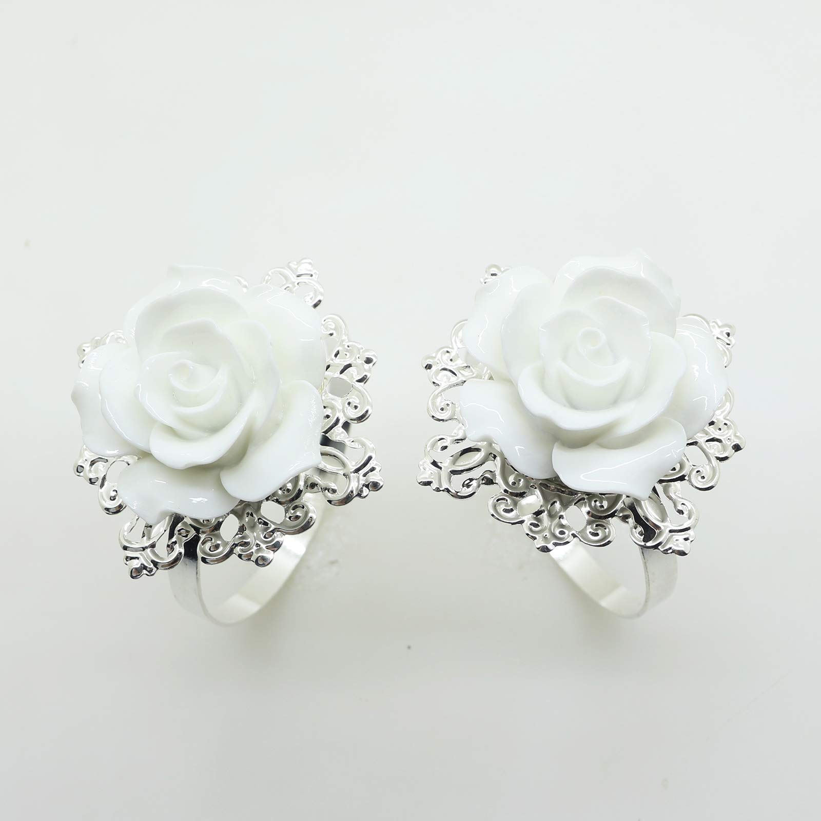 AngHui ShiPin 10pcs White Rose Napkin Ring Serviette Holder for Wedding Party Dinner Table Decor for Christmas Table