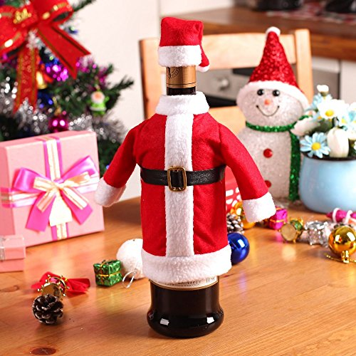 Set Christmas Decoration Red Wine Bottle Covers Clothes with Hats for Home Christmas Dinner Party or Gift (Mickeys Halloween Party Tickets)