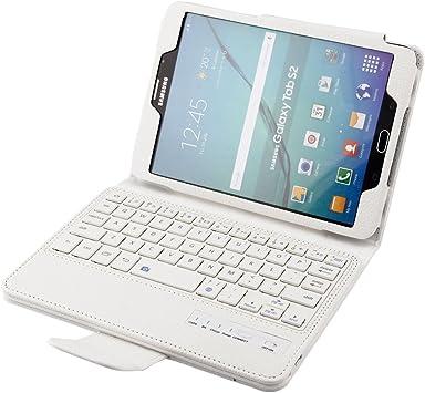 SCIMIN Funda para Samsung Galaxy Tab S2 8.0, funda para teclado Galaxy Tab S2 8.0, funda protectora de piel con teclado Bluetooth extraíble para ...