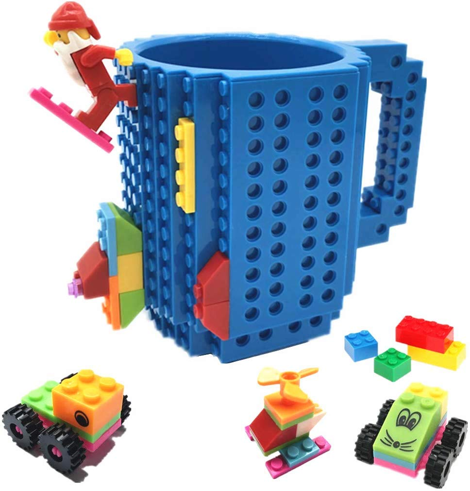 BUTLING Build-On Brick Mug, Creative DIY Building Blocks Coffee Cup, Water Bottle Puzzle Toy Mug, Desk Ornament, Unique Christmas Gift Idea, Compatible with Lego (Blue)