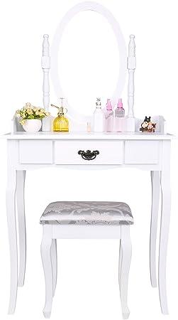 CCLIFE coiffeuse magnifique avec tabouret et mirroir table de maquillage Couleur:Noir coiffeuse avec miroir