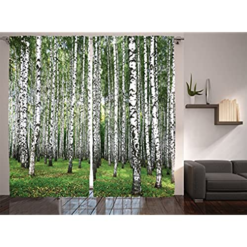 Window curtains forest theme for Forest green curtains drapes