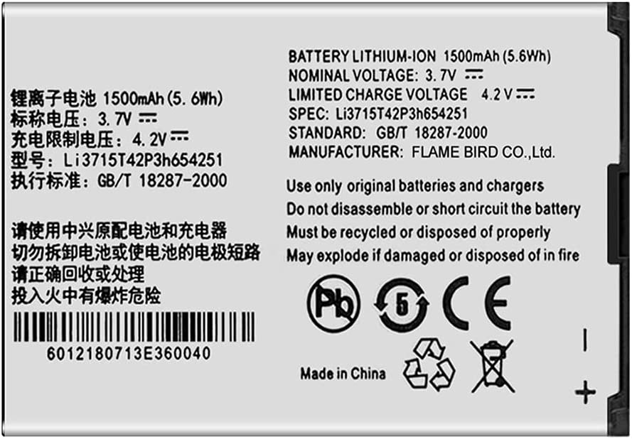 Replacement Li3715T42P3h654251 Battery for ZTE Z700A,AT&T Wireless Home Phone and Internet Home Base ZTE Z700A Battery