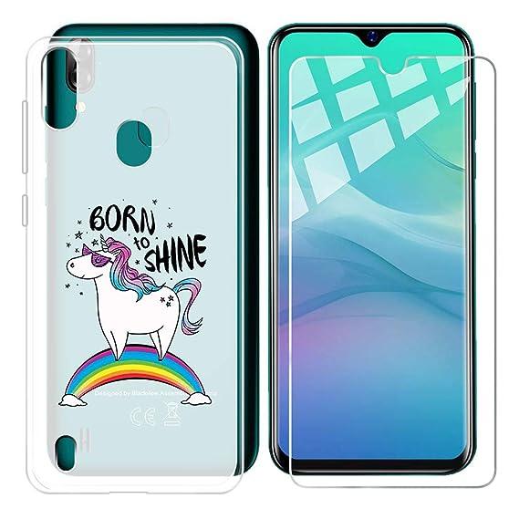 Amazon com: Phone Case Rainbow Translucent + Tempered Glass Film for