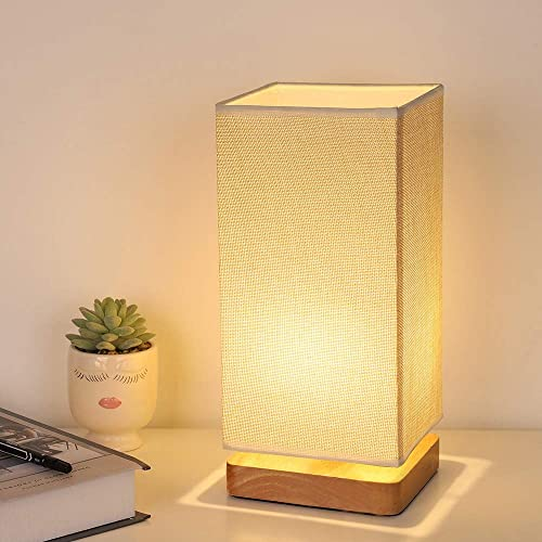 Table Lamp Bedside Japanese Style Nightstand Minimalist Modern Desk Lamp with Square Fabric Lamp Shade Wooden Base Night Light for Bedroom Living Room Dorm Coffee Table Office