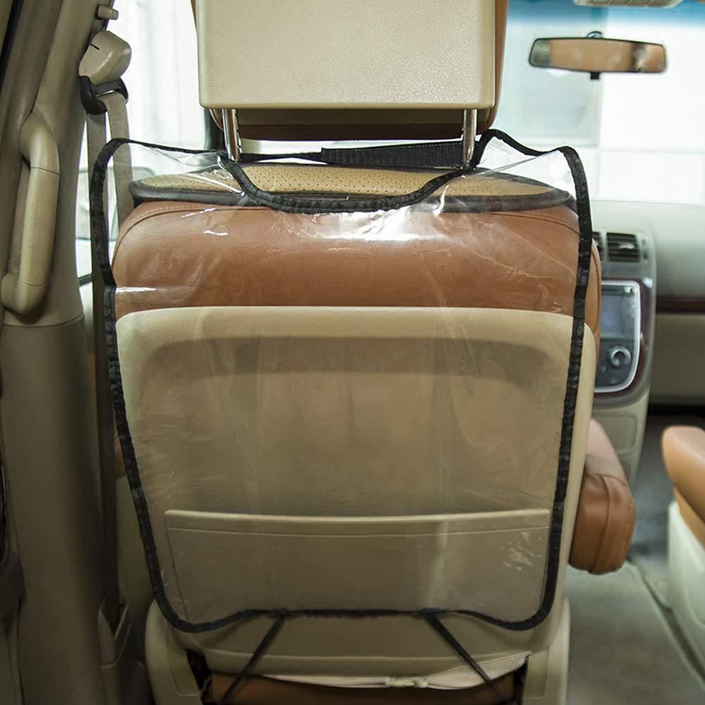 Car Seat Back Protector Pads,Transparent Waterproof Anti-Kick Anti-Dirty Car Seat Back Mat Protetctive Cover for Children Kids Black