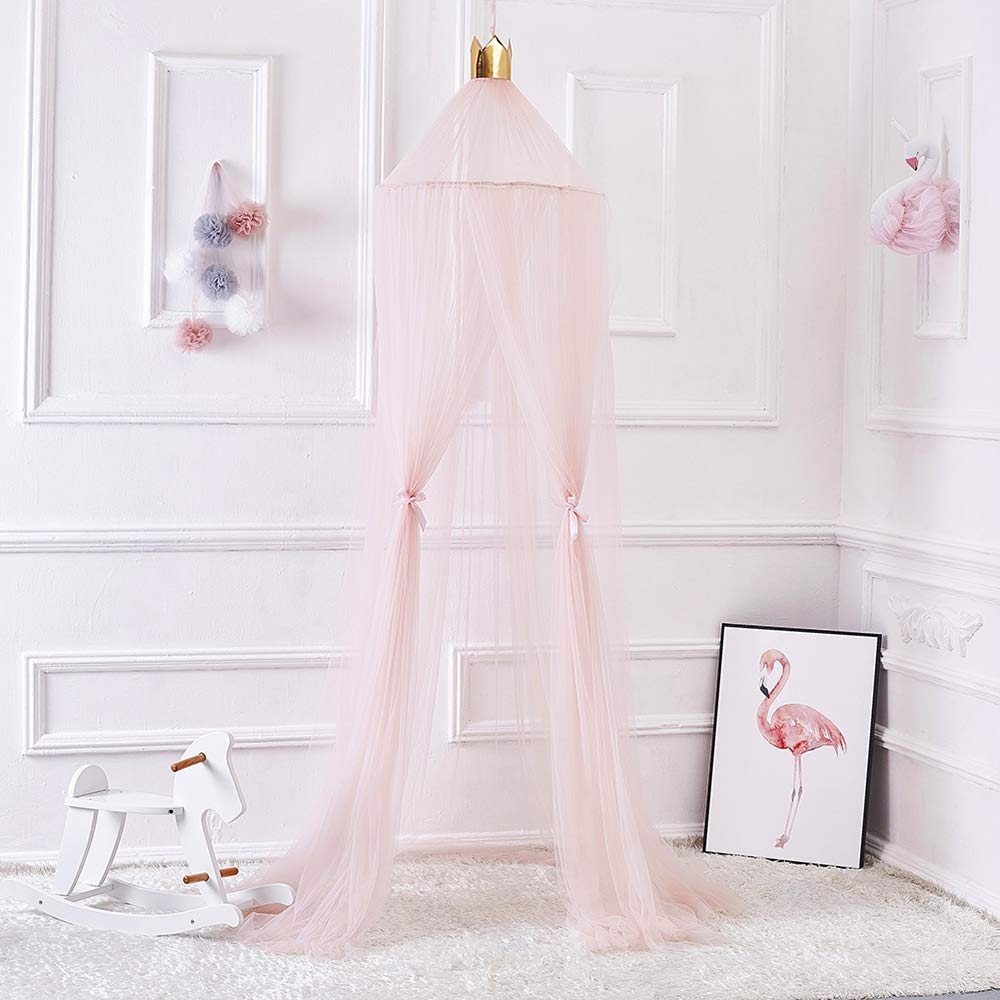 Mosquito Net for Kids Room, FOME Princess Bed Canopy Mosquito Net Yarn Play Tent Round Dome Tent Canopy Bed Net Play Tent Bedding for Kids Playing Reading Games House with Gift Star Garland