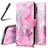 Galaxy S5 Stand Case,Samsung Galaxy S5 Wallet Case,Galaxy S5 Flip Case,SKYMARS Samsung Galaxy S5 Cover Marble Creative Design PU Leather Flip Kickstand Cards Slot Wallet Magnet Stand Case for Samsung Galaxy S5 Pink Sea Wave Marble
