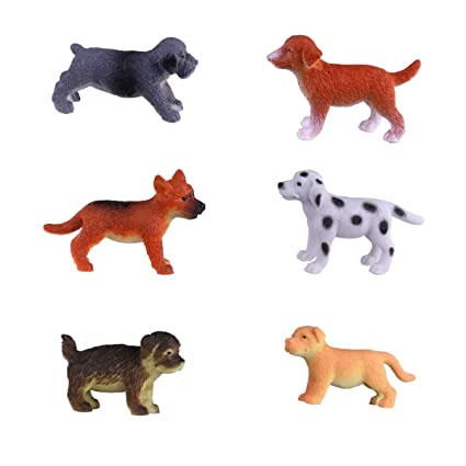 Hunson Mini Dog Figures 6 PCs Realistic Puppy Figurines Cupcake Toppers