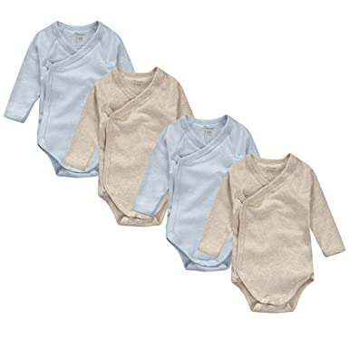 086a635de Amazon.com: JISEN Unisex-Baby Long Sleeve Kimono Onesies 4 Pack 6-9M ...