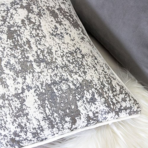 Homey Cozy Chenille Jacquard Throw Pillow Cover,Gray Series Marble Splash Textured Soft Fuzzy Warm Slik Large Sofa Couch Cushion Pillow Case 20 x 20 Inch, Cover Only