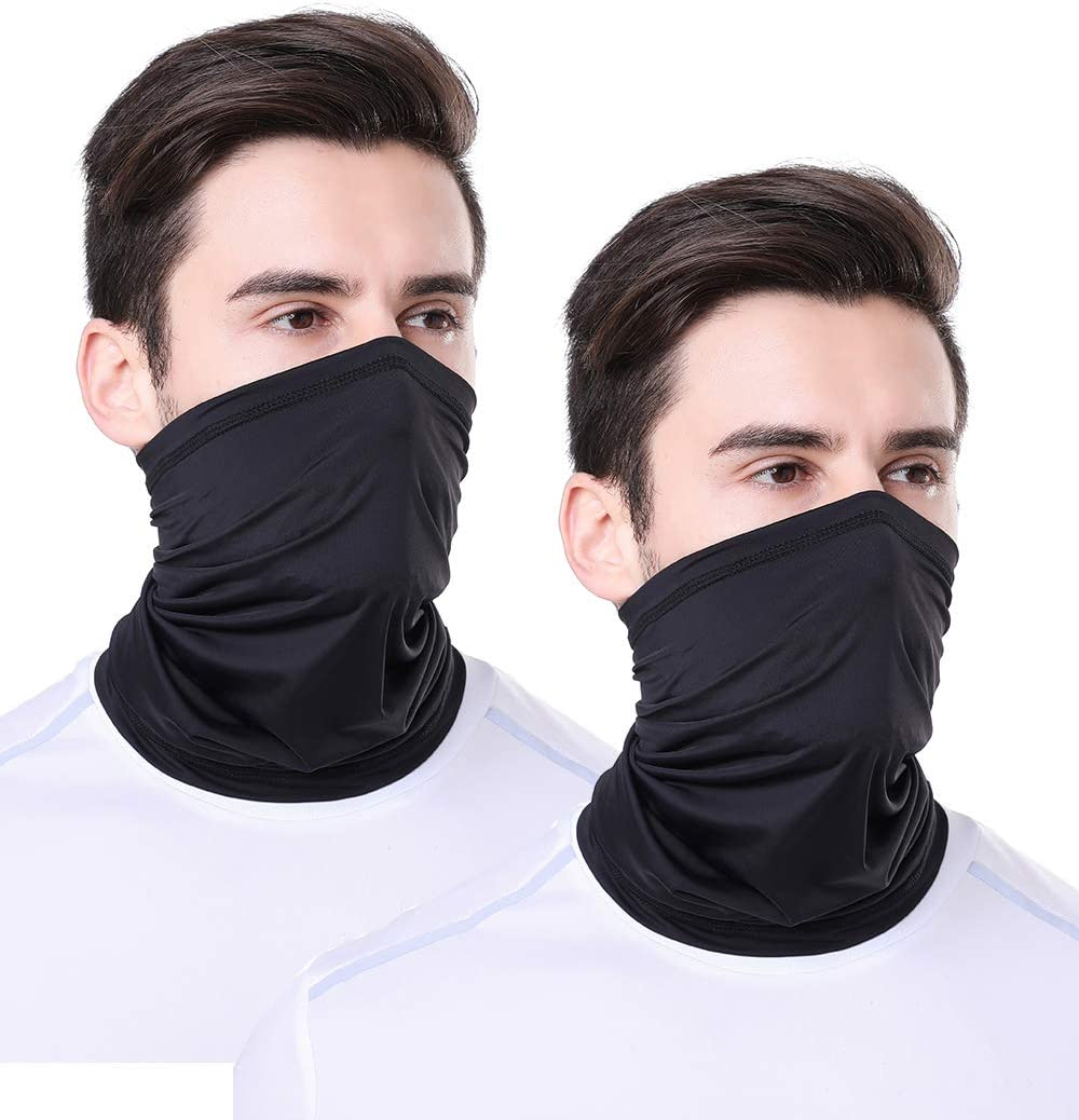 TEUME Mens Women Face Mask Neck Gaiter Bandana Reusable Cloth Silk Cooling Fabric Face Cover Multifunction for Fishing Cycling Motorcycle UV Protection UPF 50 (2 pack-Black, Large)