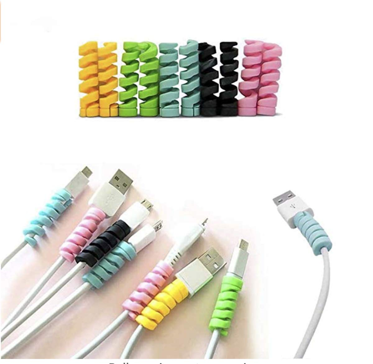 5Pcs Spiral Tube Charging Cable Protector Wire Cord Organizer Protetor for Apple iPhone ipad iwatch Charging Cable