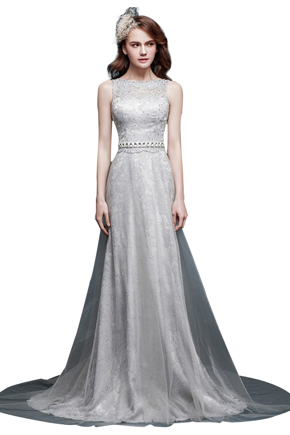 Snowskite Women's High Neck Lace Beaded Prom Evening Dress Silver 2