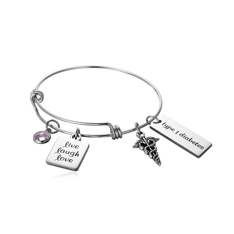 FLODANCER Medical Alert ID Bangle Bracelet Caduceus Live Laugh Love Cuff Bangle Bracelets Silver Stainless Steel Adjustable Jewelry for Women,Girls. (Free Engraving) (Free Engraving sliver)