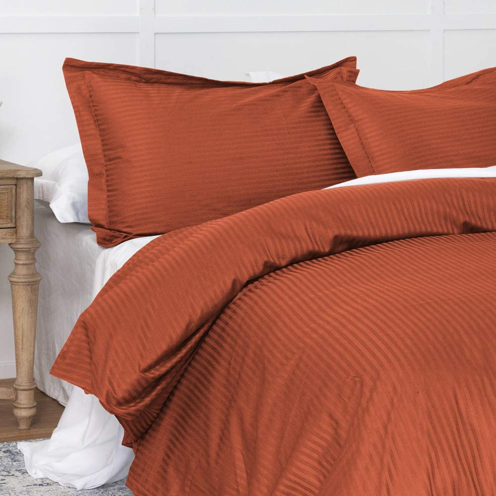 Duvet Cover Burnt Orange King, Classic Damask Pinstripe Pattern, 100% Long Staple Cotton 400TC with Silky & luxury Sateen Woven, Cool & Breathable, Luxury Royal Hotel Style Clean Look Duvet Cover