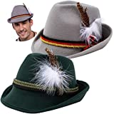 Spooktacular Creations 2 German Alpine Hats Costume Accessories Felt Fedora Retro Set for Boys, Kids Halloween Party Favors, Oktoberfest Bavarian Dress Up, Role Play and Cosplay. Green