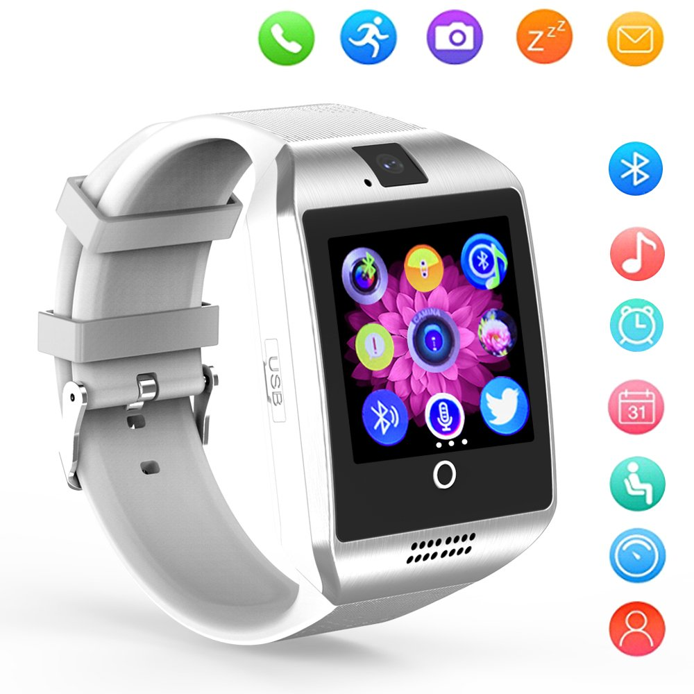 Amazon.com: Smart Watch Bluetooth Q18 Touchscreen Wrist Watches SHFY with Camera Compatible with Android Phones for Men Women (White): Cell Phones & ...