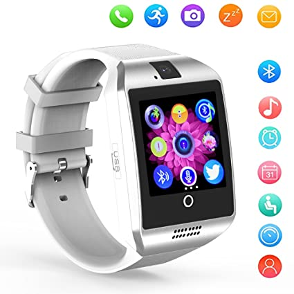 Smart Watch Bluetooth Q18 Touchscreen Wrist Watches SHFY with Camera Compatible with Android Phones for Men Women (White)