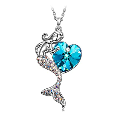feb4b50cc293 SIVERY Fairytale Little Mermaid Women Necklace Jewelry with Swarovski  Crystal, Gifts for Teen Girls