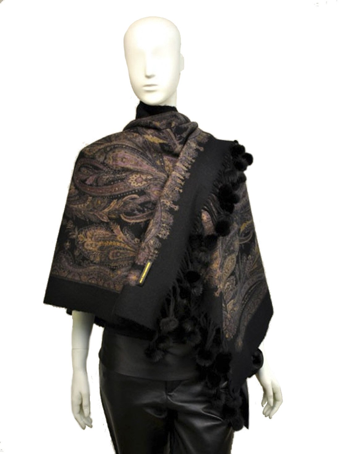 Scarves, Cashmere scarf, shawl from Cashmere Pashmina Group (Cashmere reversible shawl with mink pom-poms - Black) (Black)