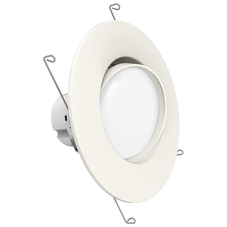 Sunco lighting 12w 6inch directional adjustable gimbal dimmable led retrofit recessed lighting fixture 60w 5000k daylight energy star ul led
