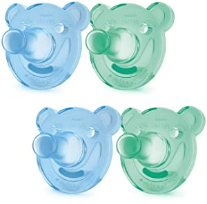 Philips AVENT Soothie Pacifier, 0-3 Months, Green/Blue, Bear Shape, 4 Pack, SCF194/41