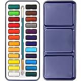 MoonLove Wasserfarben Aquarellset Aquarell-Malkasten Aquarellfarben Farbkasten 24 Farben
