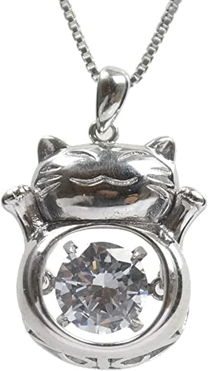 Silver necklace with cat shape and interior movable rhinestone