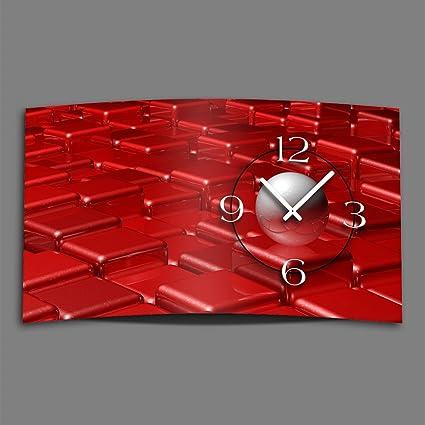 Digital – Tipo abstracto rojo diseñador Reloj de pared moderno abstracto Relojes de Pared Diseño Silencioso