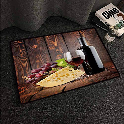 HCCJLCKS Modern Door mat Wine Red Wine Cabernet Bottle and Glass Cheese and Grapes on Wood Planks Print Non-Slip Door mat pad Machine can be Washed W35 xL59 Brown Burgundy Cream