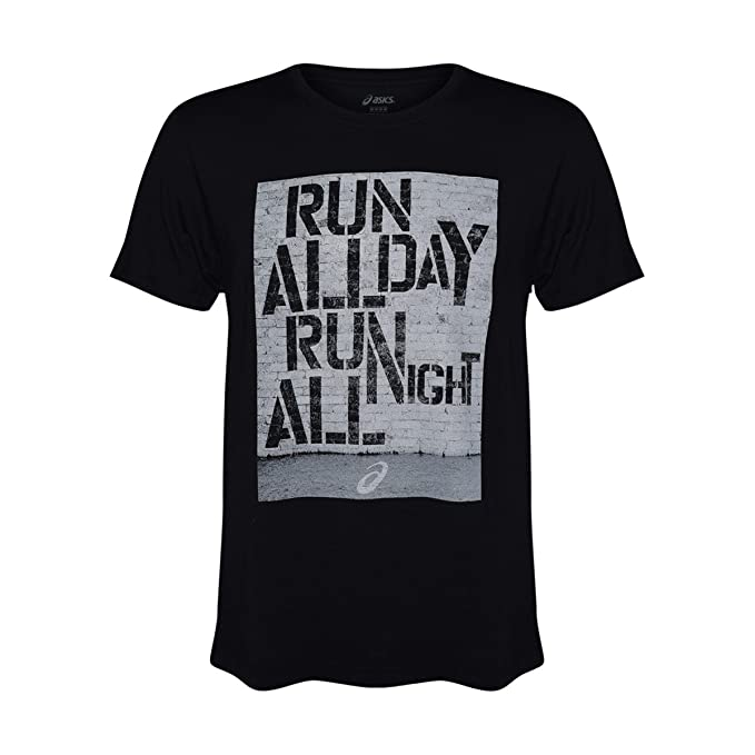 separation shoes e214c 30f35 ASICS Men s Graphic T-Shirt For Training and Running (Run All Day Black,