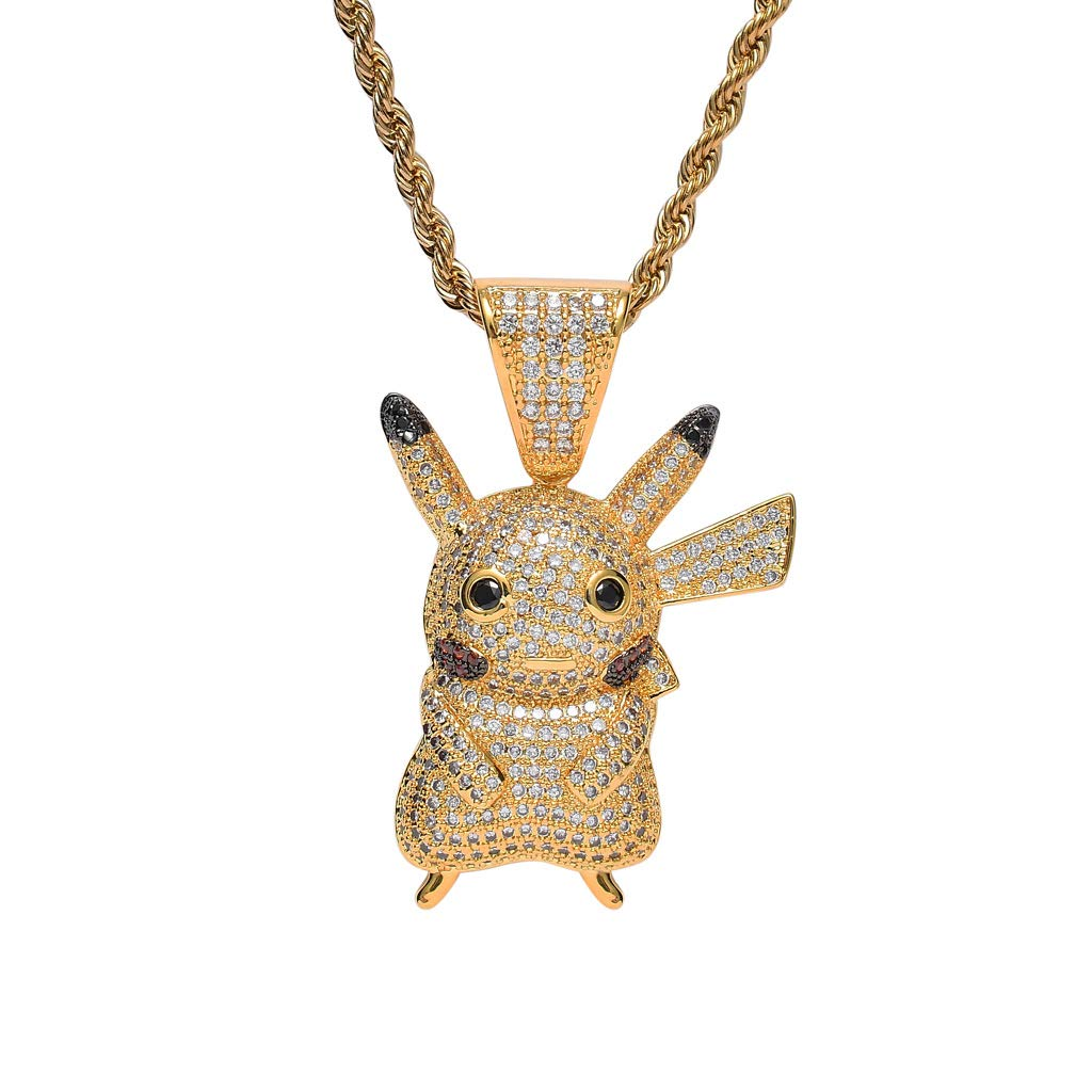 MTCLFTOO Hip Hop Pikachu Pendant Necklace, Jewelry Unisex Iced Out Necklace with Rope Chain+Mala Beads Bracelet Gift for Men Women Kids-Gold