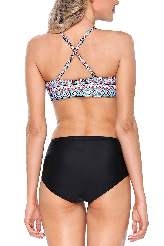 6cf8b5b4cf Amazon.com: maysoul Women Bikini Set Crop High Neck Swimsuits Aztec Two  Piece Bathing Suits: Clothing