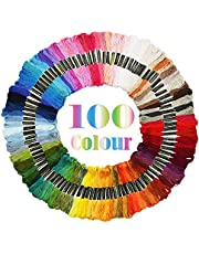 JUNSHUO 100 Soorten Verschillende Kleuren - Kruissteken - 8 Meter Lang -Levendige Kleuren – Zacht Katoenen Borduurgaren, Naaigaren voor Doe-het-zelf-ambachten voor Armbanden, Haarringen