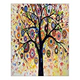 Custom Beautiful Modern Art Abstract Painting Colorful Tree of Life Canvas Print 16' x 20' Inch, Stretched and Framed Artwork Decor Wall Living room Office Art Abstract Colorful Tree of Life Oil Paintings Picture Canvas Print Home Decor