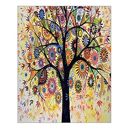Custom Beautiful Modern Art Abstract Painting Colorful Tree Of Life Canvas Print 16 X 20 Inch Stretched And Framed Artwork Decor Wall Living Room