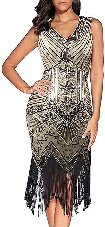 Comeon Sequin Dress, Womens Retro V Neck 1920s Sequined