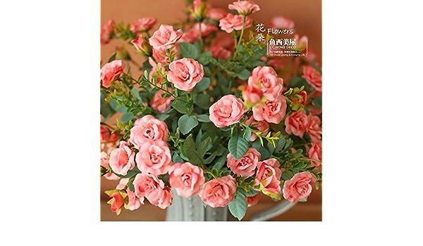 pingofm la emulación de ramo de flores de rosas artificiales flores decorado flores secas flores dibujo seda Spinning no botella flores artificiales: ...