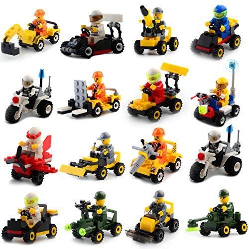 Buildable Vehicles with Minifigures Set of 16,Building Toy for Party Supplies,Birthday Favors for Kids,Gifts -