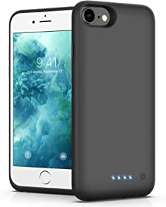 Battery Case for iPhone 6/6s/7/8, [Upgraded 6000mAh] Ekrist Portable Ultra-Slim Protective Charging Case, Extended Rechargeable Smart Battery Pack, Backup Charger Case Power Bank Cover (4.7inch-Black)