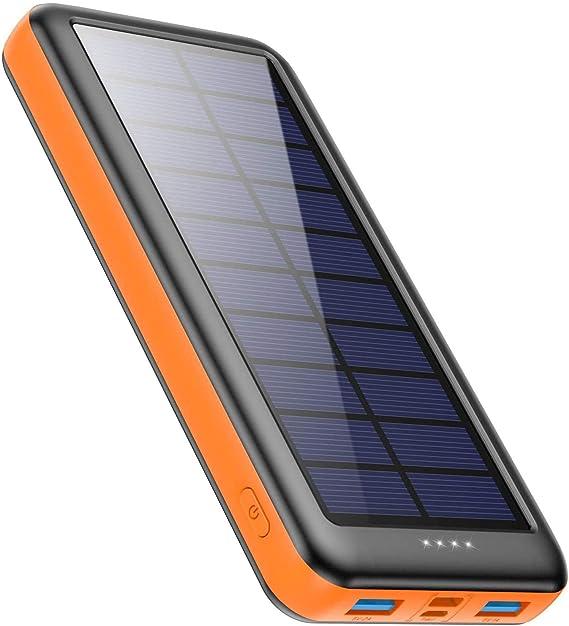 Feob Cargador Solar 26800mah, Power Bank Solar【2020 IC de Control Inteligente】con Entradas de Tipo-C, Micro USB o Paneles Solares, Carga Rápida Batería Externa Universal para Smartphones, Tabletas: Amazon.es: Electrónica
